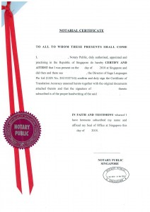 Notarial Certificate Singapore