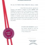 Notarial Certificate - Translation for ICA Singapore